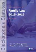 Blackstone s Statutes on Family Law 2015 2016