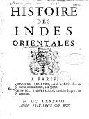 Histoire des Indes orientales, par M. Souchu de Renefort