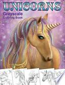 Unicorns. Grayscale Coloring Book