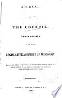 Journal Of The Council Session Of The Legislative Assembly Of Wisconsin