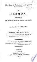 The Duty Of Contentment Under Present Circumstances A Sermon On 1 Tim Vi 6 The Second Edition