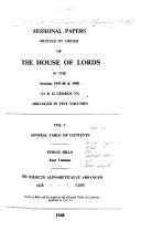 Sessional Papers Printed by Order of the House of Lords