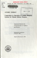 Atomic Energy  Cooperation in Operation of Atomic Weapons Systems for Mutual Defense Purposes