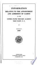 Information Relative to the Appointment and Admission of Cadets to the United States Military Academy