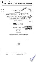 Cotton Research and Promotion Program, Hearings Before ..., 89-2 on H.R. 12322, February 8 and 9, 1966