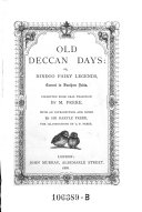 Old Deccan Days, Or Hindoo Fairy Legends, Current in Southern India