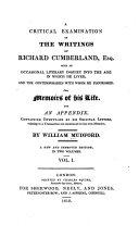 A Critical Examination of the Writings of Richard Cumberland, Esq