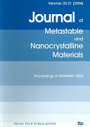 Metastable, Mechanically Alloyed and Nanocrystalline Materials
