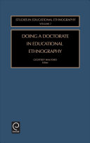 Doing a Doctorate in Educational Ethnography