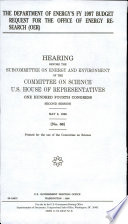 The Department of Energy s FY 1997 Budget Request for the Office of Energy Research  OER  Book