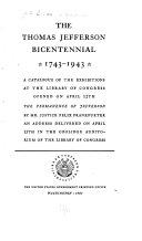 The Thomas Jefferson Bicentennial  1743 1943