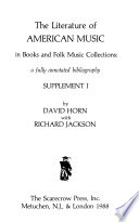 The Literature of American Music in Books and Folk Music Collections