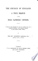 The Church of England a True Branch of the Holy Catholic Church  A Reply to the Remarks of the Rev  Eugene Egan  in a Tract Entitled     The Church of Christ and the True Bible   c  Versus Modern Infidelity     on a Pamphlet Entitled     The Catholic Church  Or the Roman Schism  Which     by the Rev  L  Darwall Book