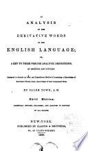 An Analysis Of The Derivative Words In The English Language