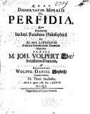 Dissertatio Moralis De Perfidia