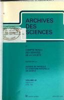 Archives des sciences et compte rendu des s  ances de la Soci  t
