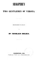 Shakspere s Werke  Two gentlemen of Verona  Comedy of errors  Love s labour s lost  All s well that ends well  Midsummer night s dream  Taming of the shrew  Merchant of Venice