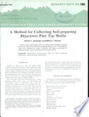 A Method for Collecting Soil pupating Rhyacionia Pine Tip Moths Book