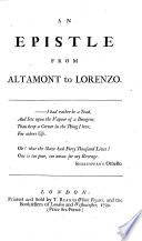 An Epistle from Altamont to Lorenzo Book