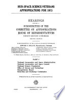 HUD space science veterans Appropriations for 1973 Book