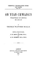 Pdf On Yuan Chwang's travels in India, 629-645 A.D Telecharger