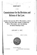 Report of the Commissioner for the Revision and Reform of the Law