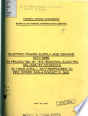 Electric Power Supply And Demand 1977 1986 Book PDF