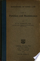 Handbooks Of Hindu Law Part Ii Partition And Maintenance Book