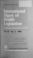 International Digest Of Health Legislation Book PDF
