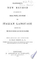 New Method Of Learning To Read Write And Speak The Italian Language Book PDF