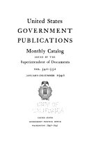 Monthly Catalog Of The United States Government Publications