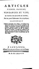 Articles vignes, raisins, vendanges et vins, de toutes les qualités du monde, tirés du grand Dictionnaire encyclopédique