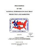 Proceedings of the National Symposium on Goat Meat Production and Marketing  August 16 18  1991  Doubletree Hotel Downtown  Tulsa  Oklahoma Book