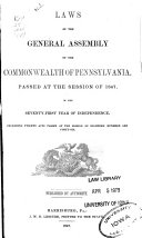 Pdf Laws of the General Assembly of the Commonwealth of Pennsylvania Passed at the Session