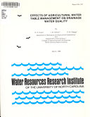 Effects of Agricultural Water Table Management on Drainage Water Quality