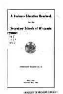 A Business Education Handbook for the Secondary Schools of Wisconsin