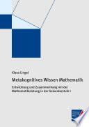 Metakognitives Wissen Mathematik