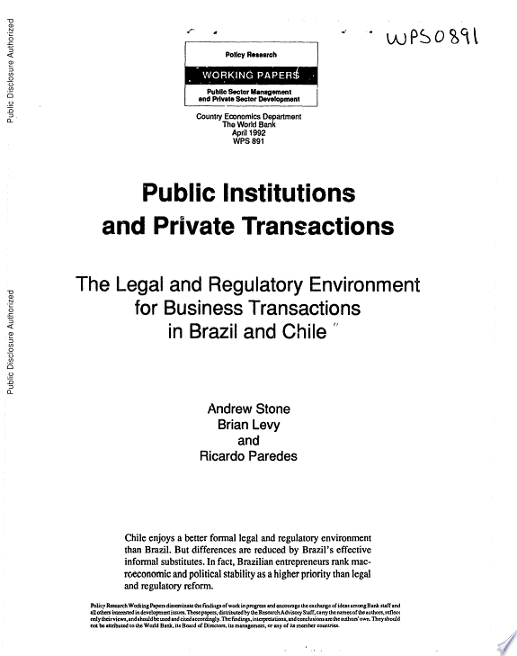 Public Institutions and Private Tra