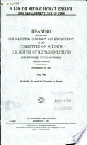 S  1418  the Methane Hydrate Research and Development Act of 1998 Book