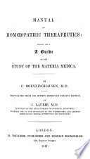 Therapeutisches Taschenbuch. Therapeutic Pocket-Book for Homoeopathic Physicians, etc