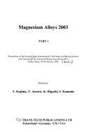 Magnesium Alloys 2003 Book