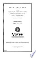 Proceedings of the     Annual Convention of the Veterans of Foreign Wars of the United States  summary of Minutes