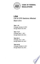 Lsa List Of Cfr Sections Affected
