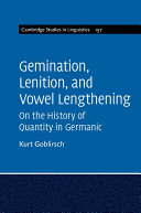 Lenition and Vowel Lengthening in the Germanic Languages