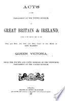 Acts of the Parliament of the United Kingdom of Great Britain   Ireland  Passed in the Sessions Held in the 35th and 36th  and 36th and 37th Years of the Reign of Her Majesty Queen Victoria  Book