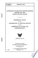Automated Legislative Record Keeping System for the United States Senate