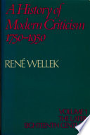 A History of Modern Criticism 1750-1950: Volume 1, The Later Eighteenth Century
