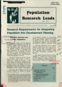 Research Requirements for Integrating Population Into Development Planning Book