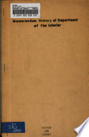 Memorandum History of the Department of the Interior