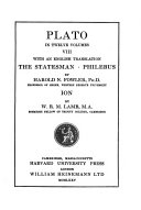 Plato: The statesman. Philebus. Ion